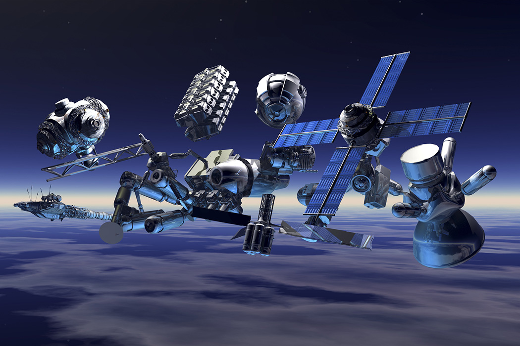 Many satellites crowded together in the sky