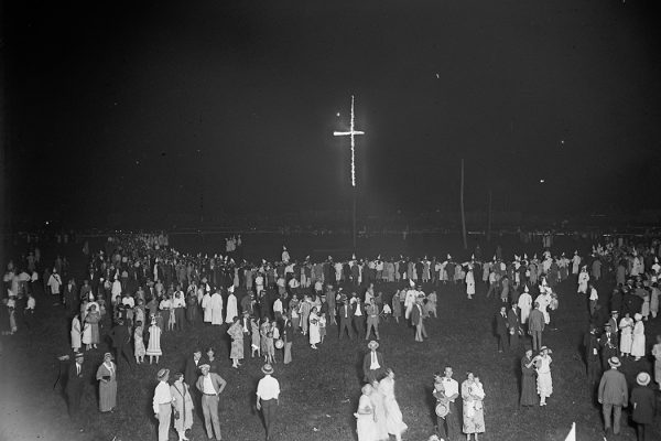 Burning of an 80 ft. cross by the KKK, 1925