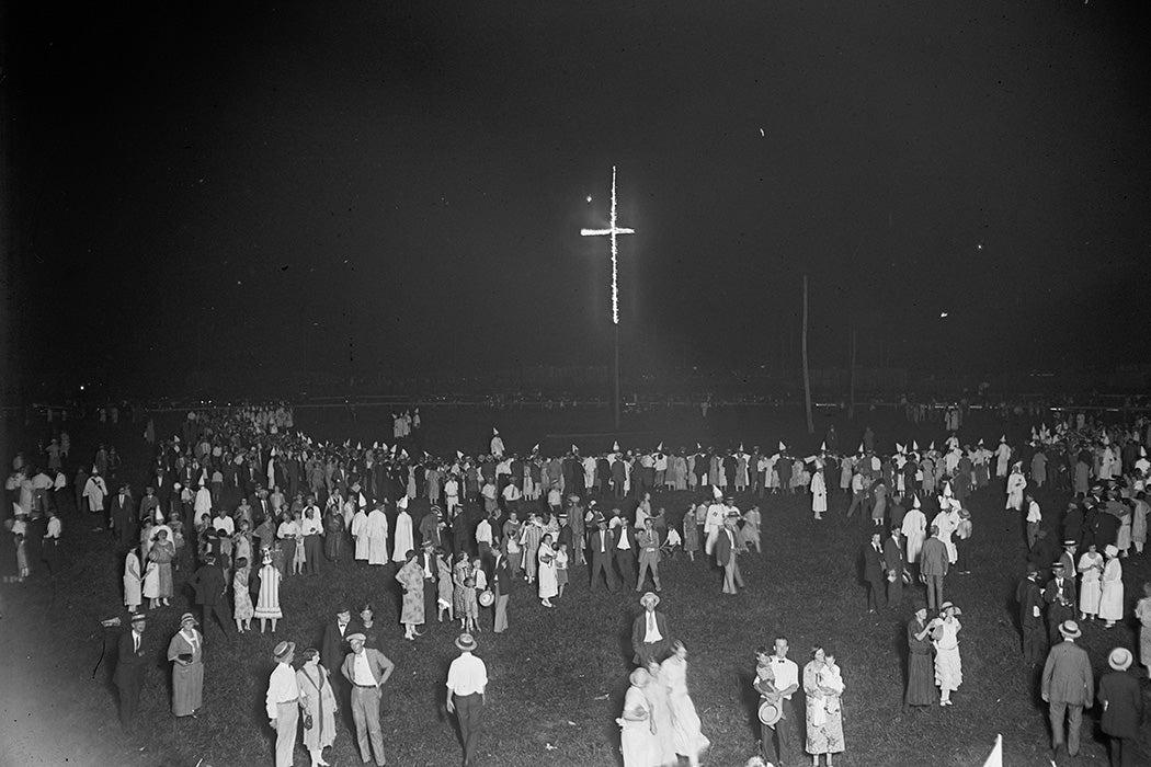 Burning of an 80 ft. cross by the KKK, 1925