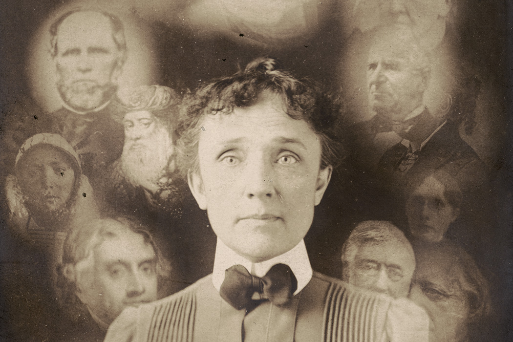 """Spirit"" photograph, supposedly taken during a seance, actually a double exposure or composite of superimposed cut-outs, showing woman with portraits of men and women around her head"