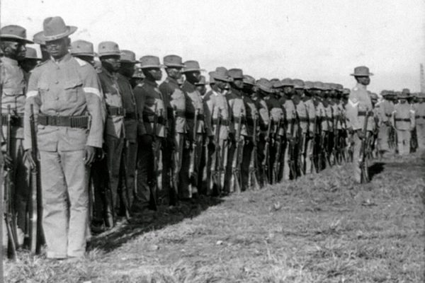 The 24th U.S. Infantry at drill, Camp Walker, Philippine Islands, c. 1902