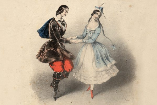 A moustachioed young man and a girl in long braids dance the 'original polka' on page one of 'Jullien's Celebrated Polkas', dedicated to Mr E Coulon.