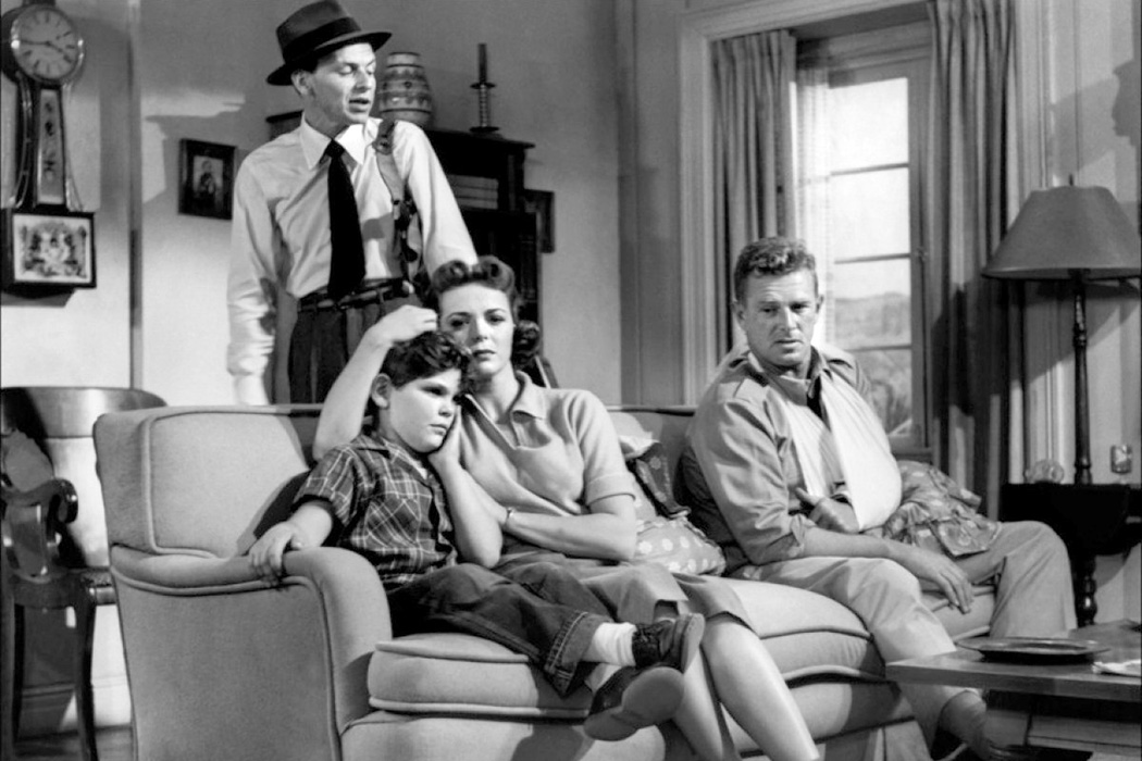 Frank Sinatra, Kim Charney, Nancy Gates & Sterling Hayden in Suddenly, 1954