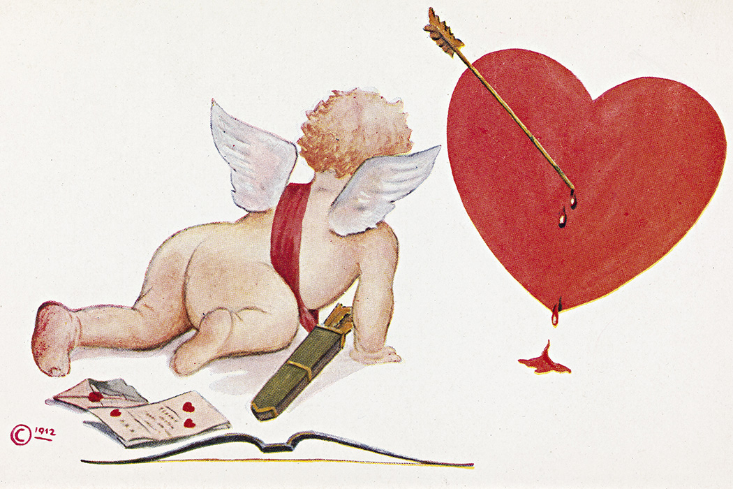A Valentine's Day card from 1912 depicting Cupid
