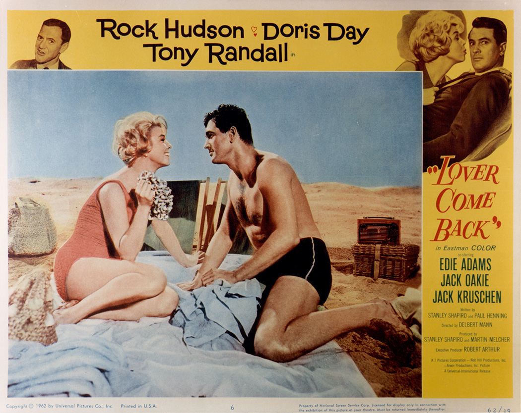 Doris Day and Rock Hudson in movie art for the film 'Lover Come Back', 1961.