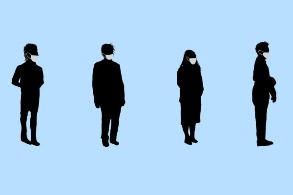 Silhouettes of people in a line wearing masks and practicing social distancing