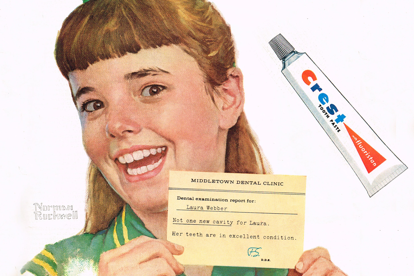 A vintage ad for Crest toothpaste