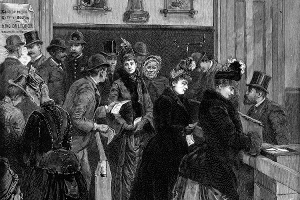 Women line up to vote in a municipal election, Boston, Massachusetts, December 11, 1888.