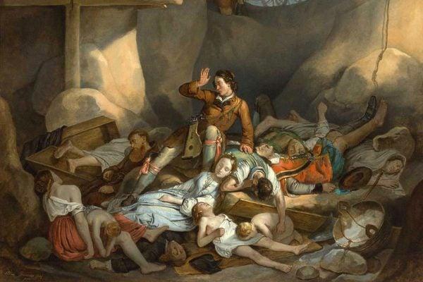 Der liebe Augustin erwacht in der Pestgrube by Adam Brenner