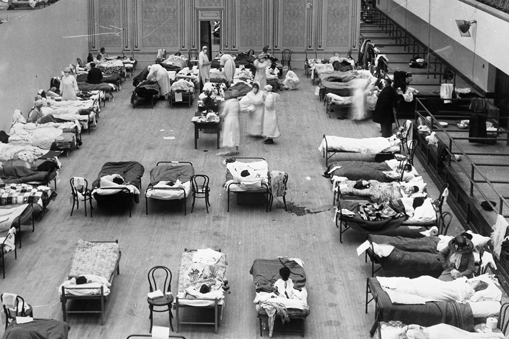 The Oakland Municipal Auditorium in use as a temporary hospital during the 1918 flu pandemic