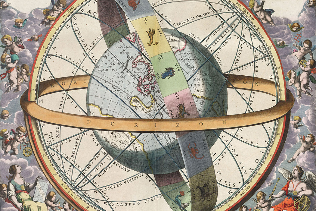The location of the Earth encircled by the celestial circles, 1661