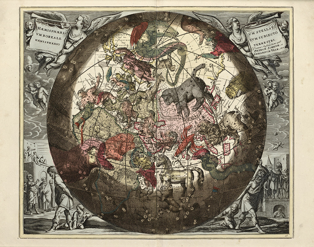 Hæmisphærium Stellatvm Boreale cvm Subiecto Hæmisphærio Terrestri, 1708
