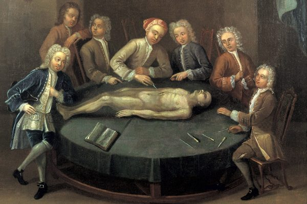William Cheselden giving an anatomical demonstration to six spectators in the anatomy-theatre of the Barber-Surgeons' Company, London, c. 1730