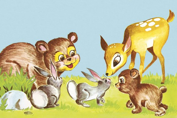 An illustration of baby forest animals