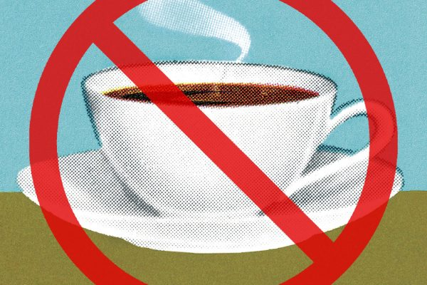 A cup of coffee with a red circle and a line struck through it