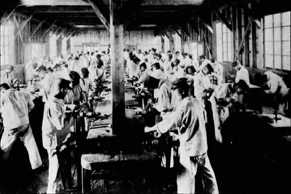 Students of an engineering course in training in Japan, 1915