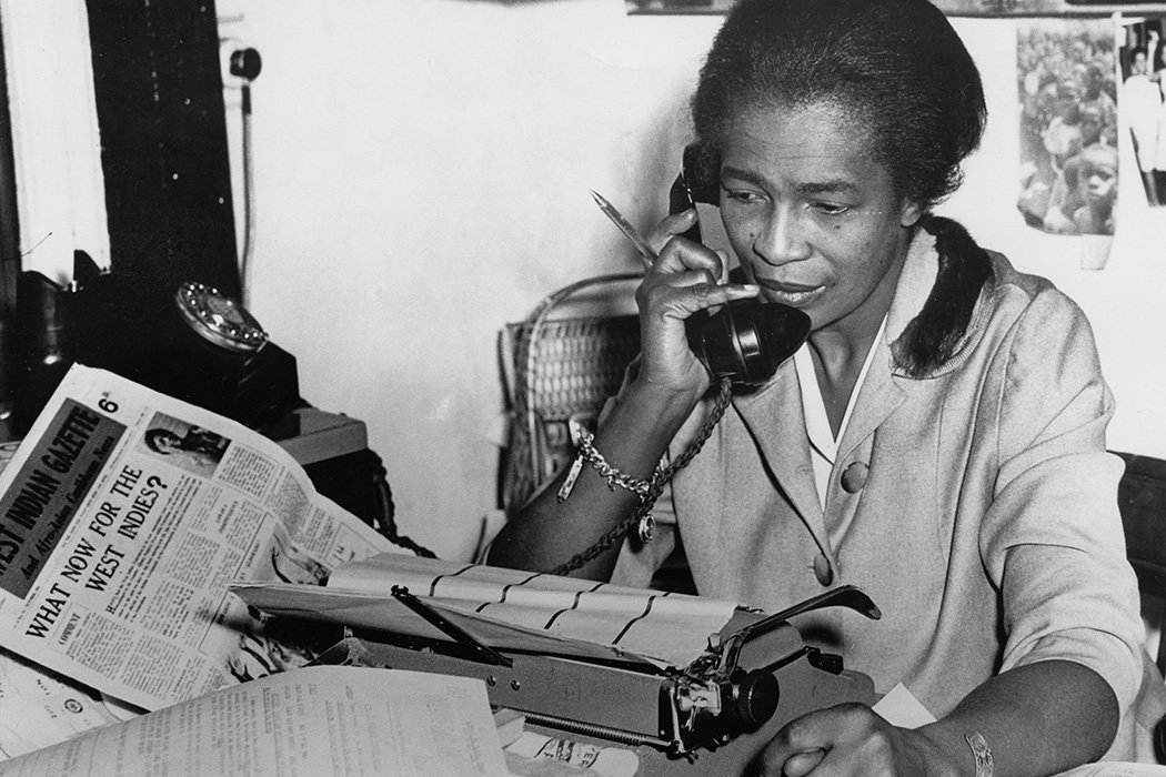 Trinidad-born journalist and activist Claudia Jones at the offices of The West Indian Gazette in 1962. Jones joined the Communist Party in 1936