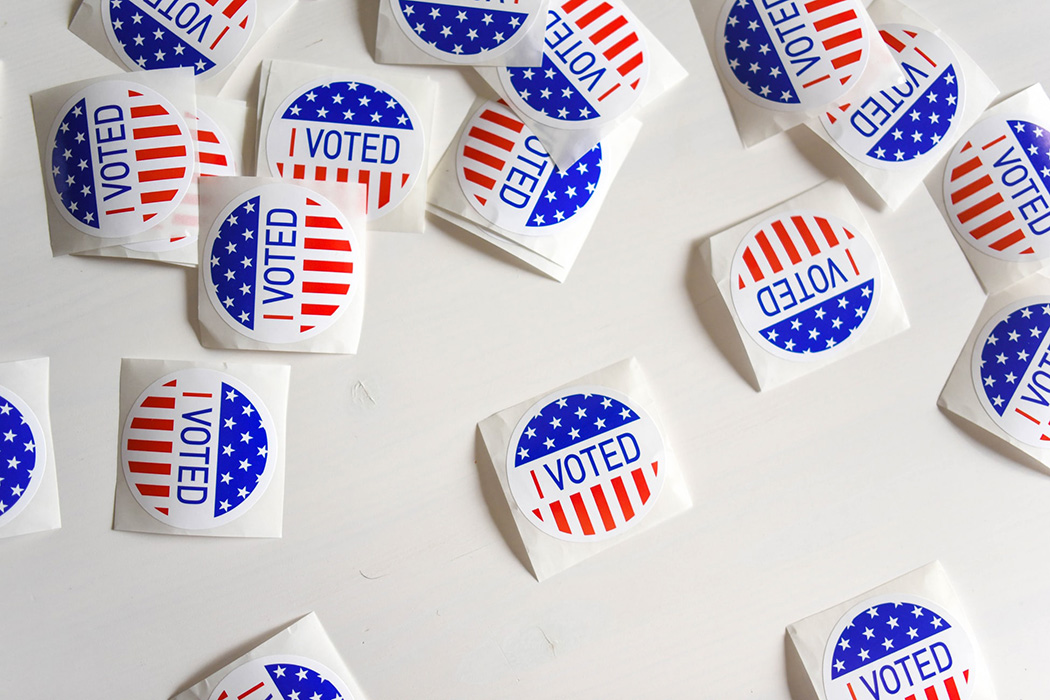 Voting stickers on a table