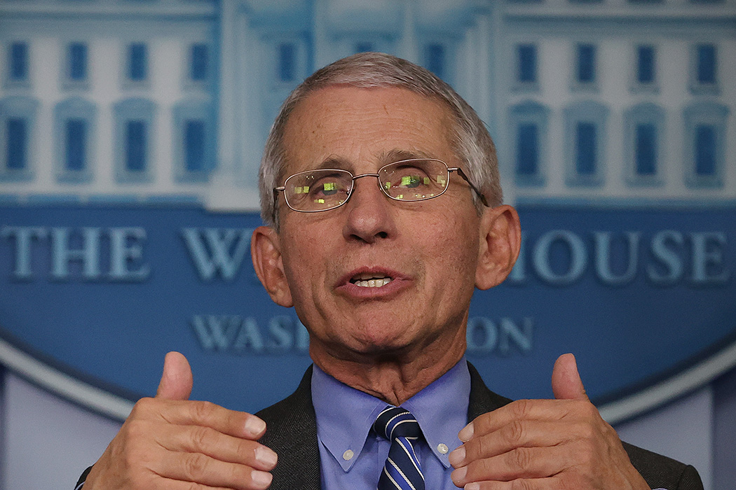 Dr. Anthony Fauci speaks to reporters following a meeting of the coronavirus task force at the White House on April 6, 2020