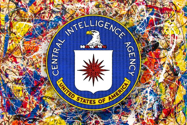 The CIA logo over a Jackson Pollock painting