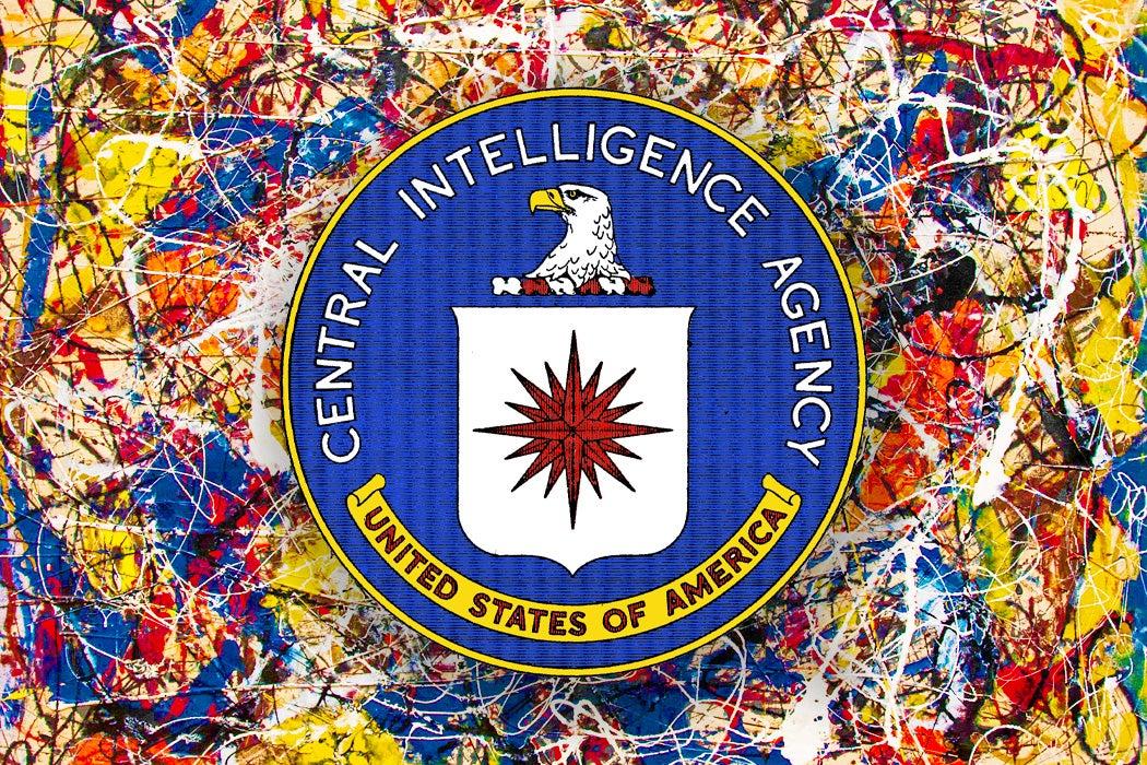 The CIA logo over a Jackson Pollock painting