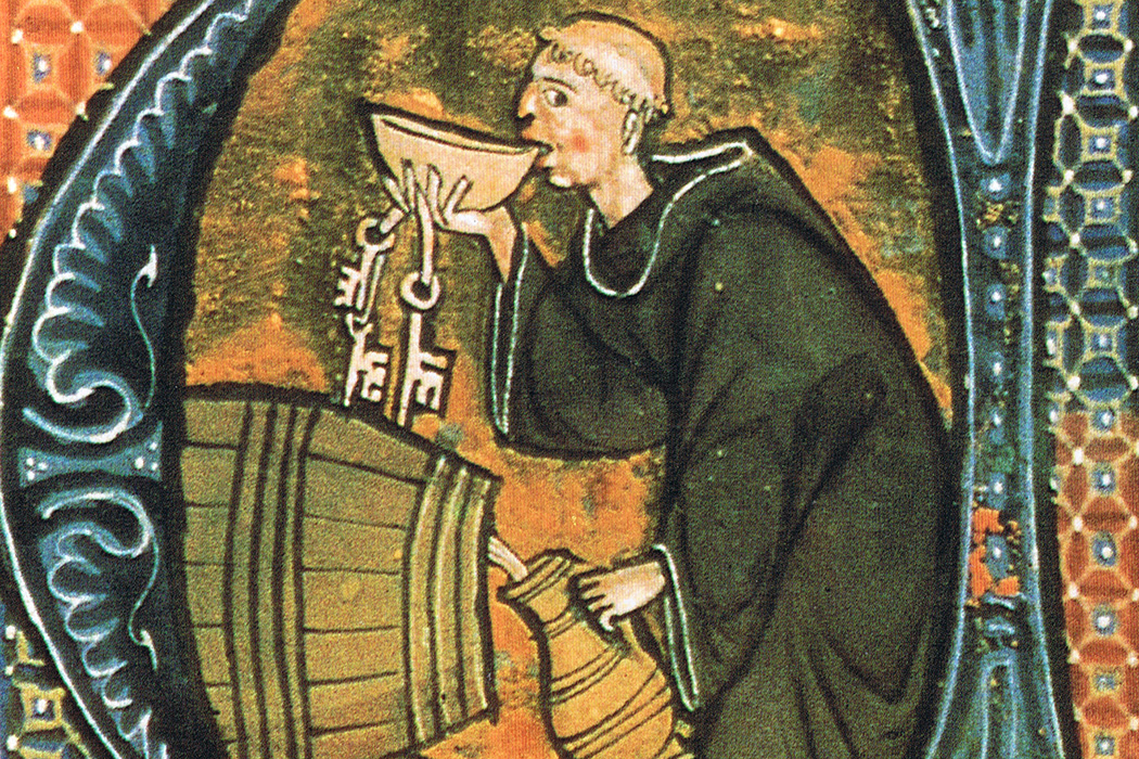 An abbey cellarer testing his wine. Illumination from a copy of Li livres dou santé by Aldobrandino of Siena, late 13th century