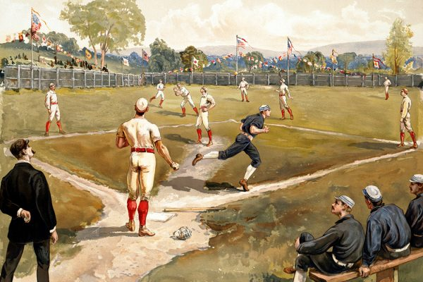 Vintage image of a baseball game in the late 19th century.