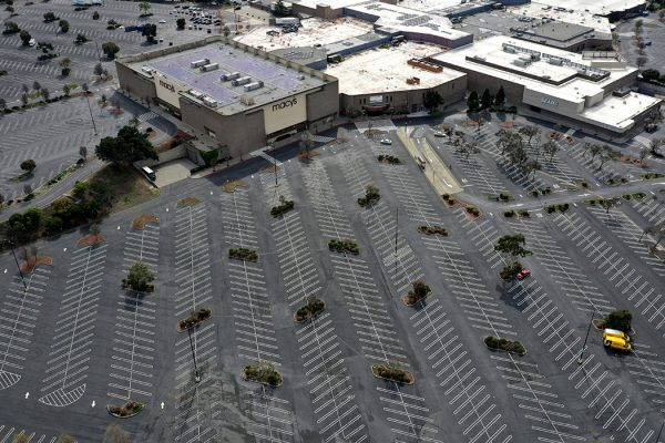 The parking lot at Hilltop Mall sits empty on March 17, 2020 in Richmond, California.