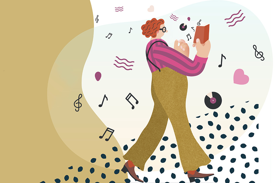 Illustration of a woman walking with a book