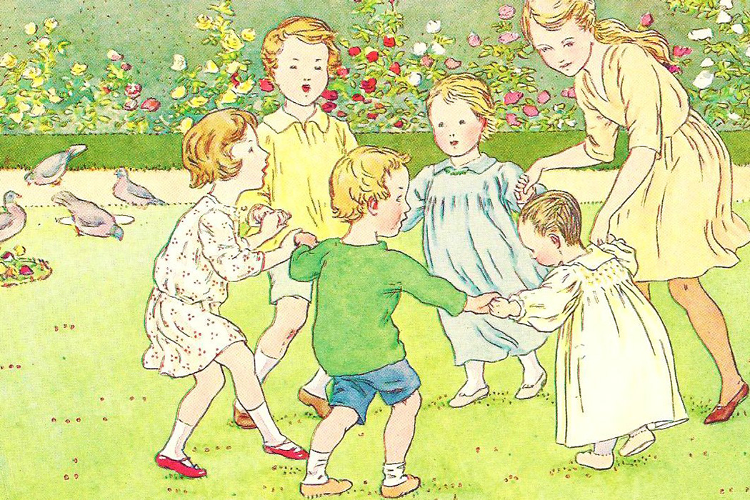 Children playing ring around the rosie