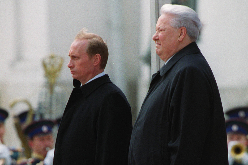 Russian President Vladimir Putin, left, and former Russian President Boris Yeltsin attend an inauguration ceremony for Putin May 7, 2000 in the Kremlin in Moscow.