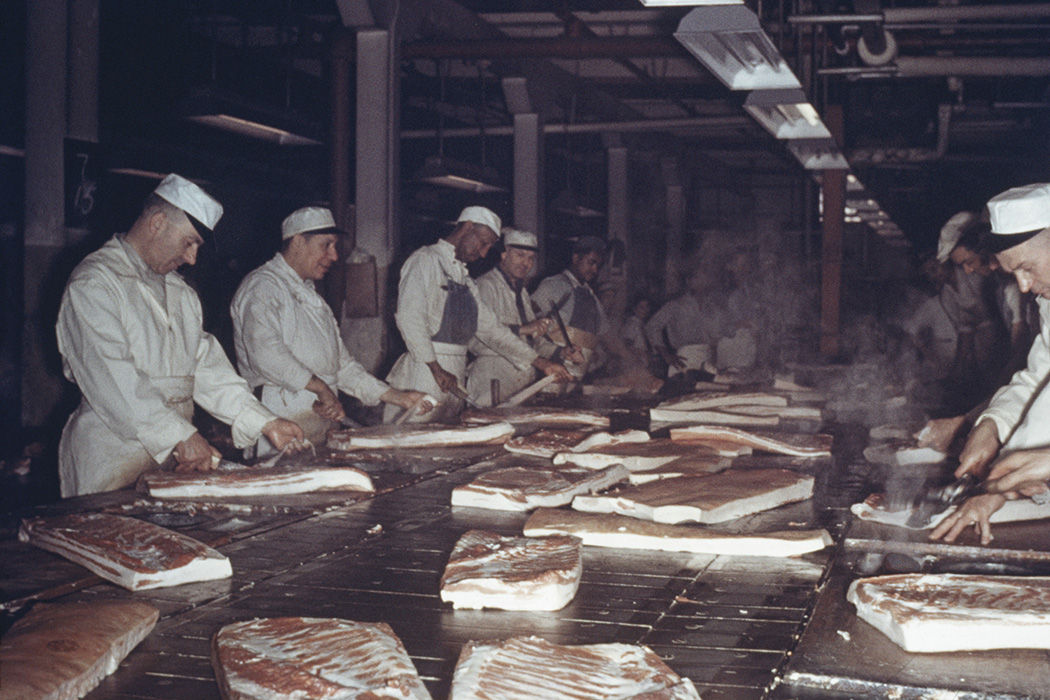 Men prepare bacon at a meat packing plant in Chicago, circa 1955