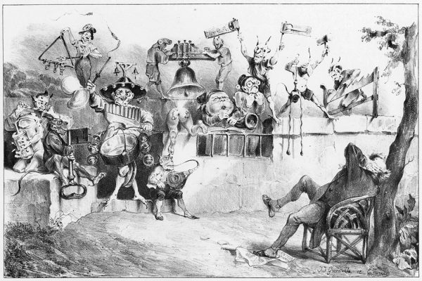 An illustration of Charivari by Jean-Jacques Grandville, 1831