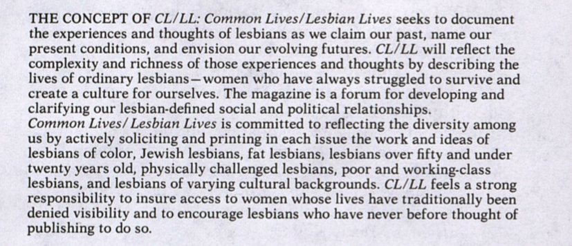 Common Lives/Lesbian Lives Diversity Statement