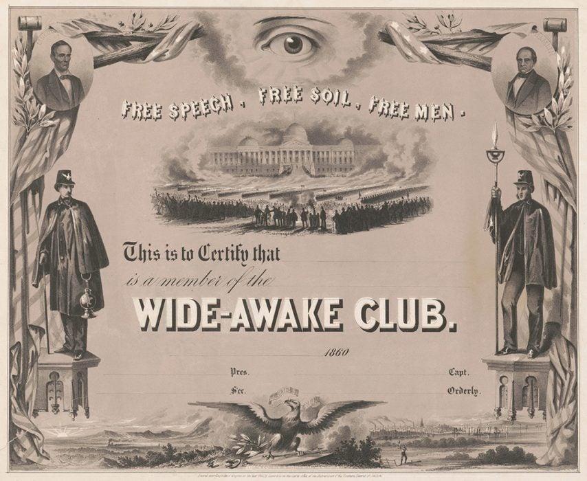 A membership certificate for the Wide-Awake Club