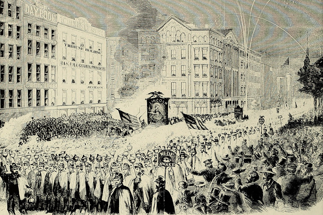 Grand procession of Wide-Awakes in New York, October 3, 1860