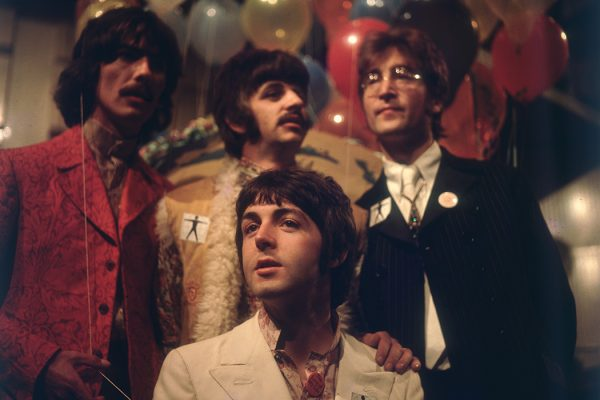 The Beatles as they prepare for 'Our World', a world-wide live television show