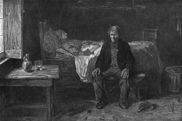 A man nursing a sick person, circa 1850