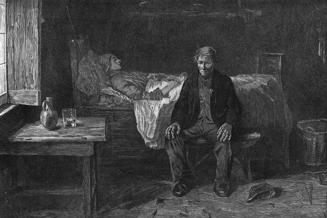 A man nursing a sick person, circa 1850