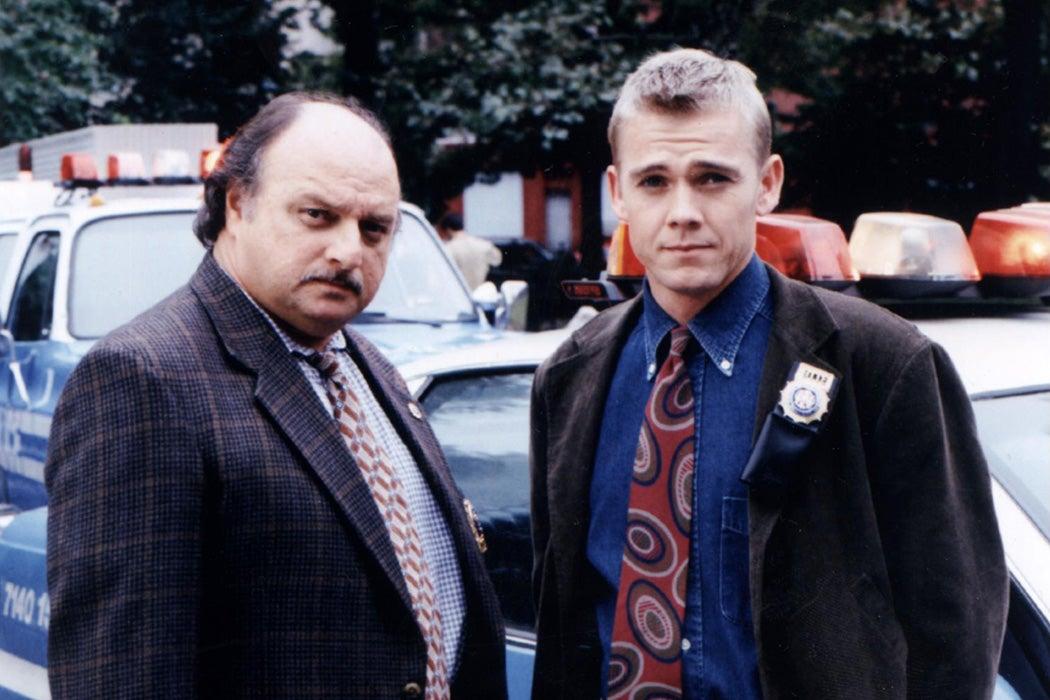"""Dennis Franz and Rick Schroder in """"NYPD Blue,"""" 1998"""