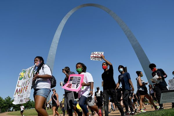 Young protestors take to the street to protest against police brutality on June 14, 2020 in St. Louis, Missouri.