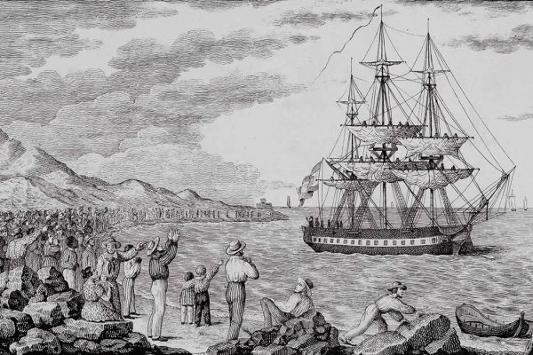 The ship María Pita departing from Coruña in 1803, engraved by Francisco Pérez