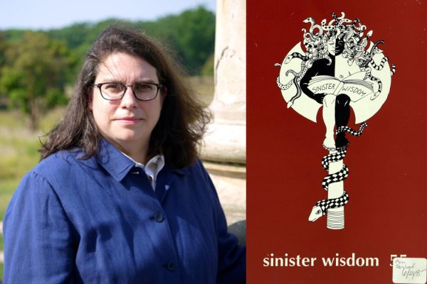 Julie Enszer and the cover of issue 55 of Sinister Wisdom