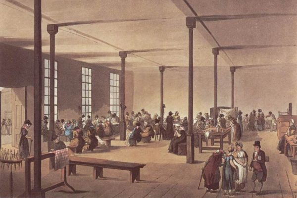 "The workroom at St James's workhouse"" from The Microcosm of London (1808)"