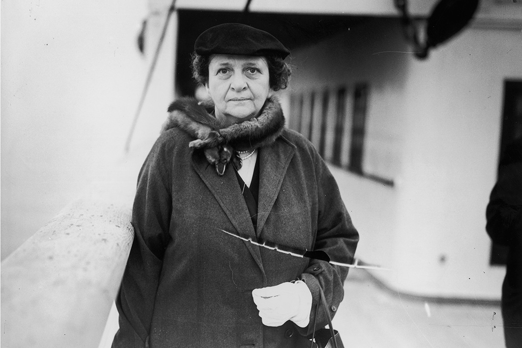 American social reformer and politician Frances Perkins, the Secretary of Labour in Roosevelt's cabinet, arriving in Plymouth aboard US liner Washington en route to Geneva.