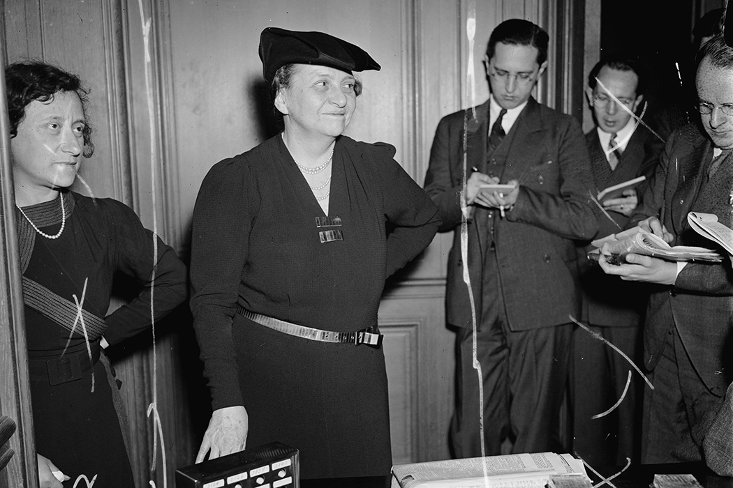 Secretary of Labor Frances Perkins at her last press conference
