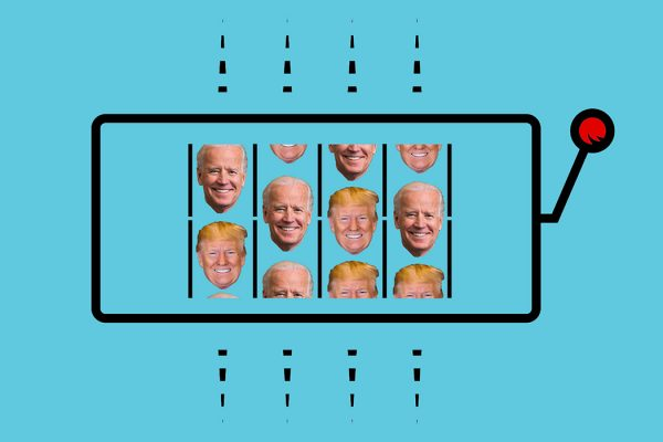 A slot machine featuring the faces of Donald Trump and Joe Biden