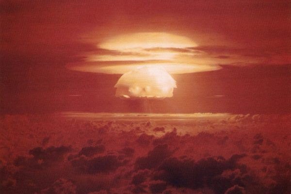 The Castle Bravo hydrogen bomb blast at Bikini Atoll on March 1, 1954