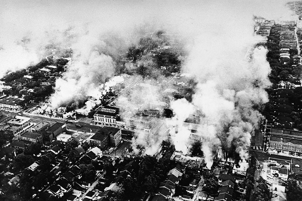 Aerial view of widespread fires started during the riots in Detroit, Michigan, July 1967