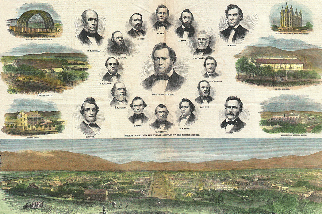 A view of Salt Lake City, Utah from the August 1866 issue of Harper's Weekly, accompanied by portraits of sixteen important early leaders of The Church of Jesus Christ of Latter-day Saints